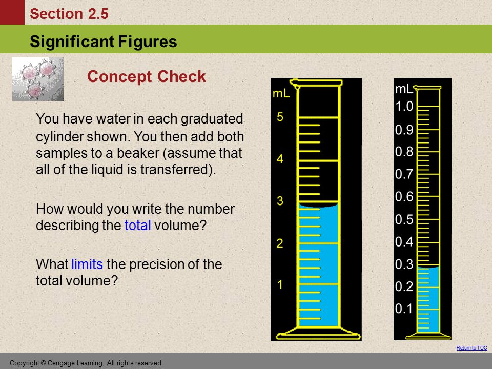 Concept Check You have water in each graduated cylinder shown. You then add both samples to a beaker (assume that all of the liquid is transferred).
