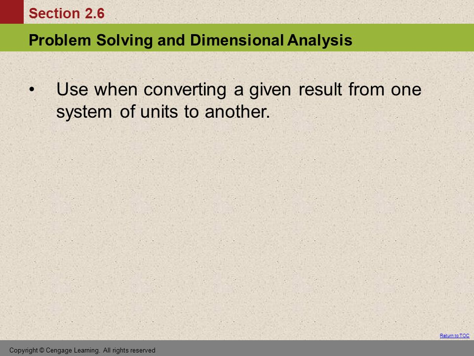 Use when converting a given result from one system of units to another.