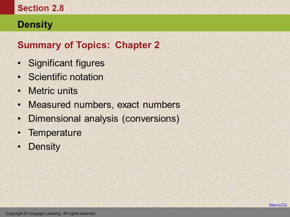 Summary of Topics: Chapter 2