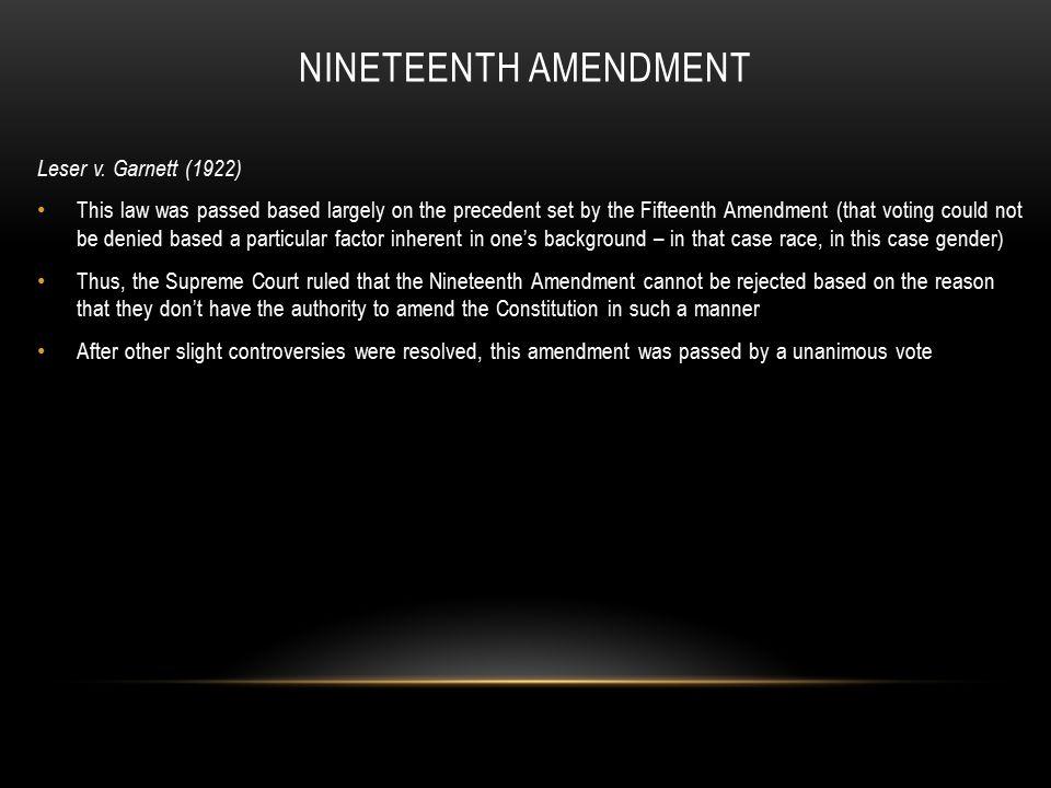 supreme court cases involving the 19th amendment