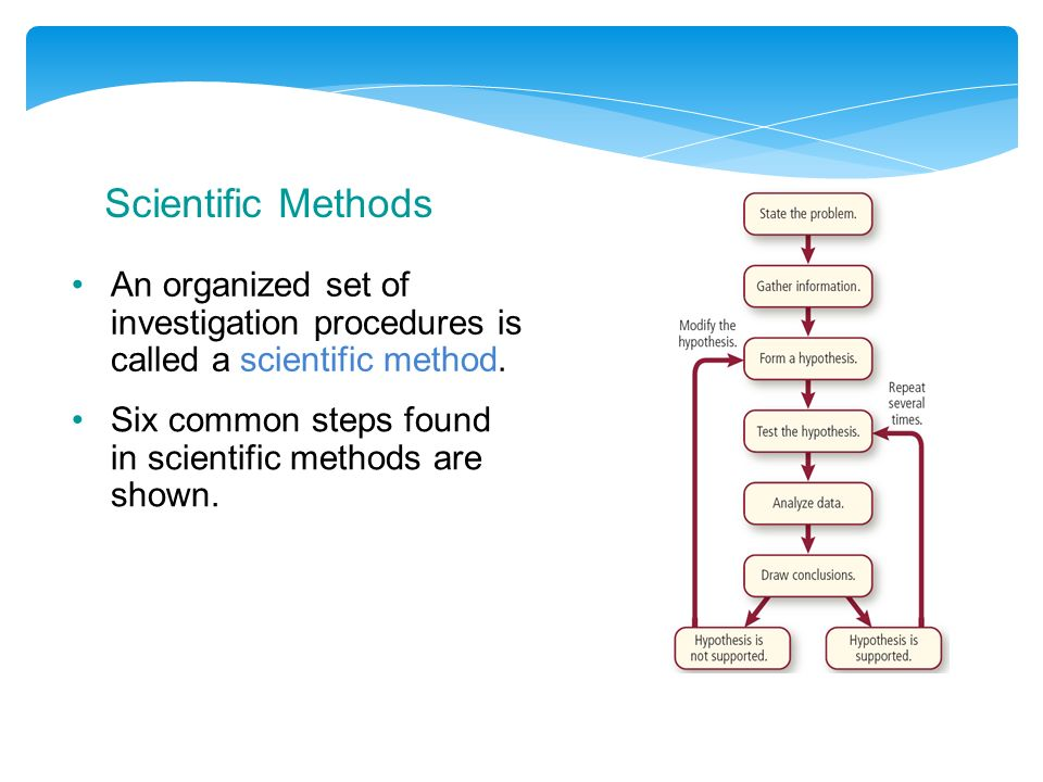 Scientific Methods An organized set of investigation procedures is called a scientific method.