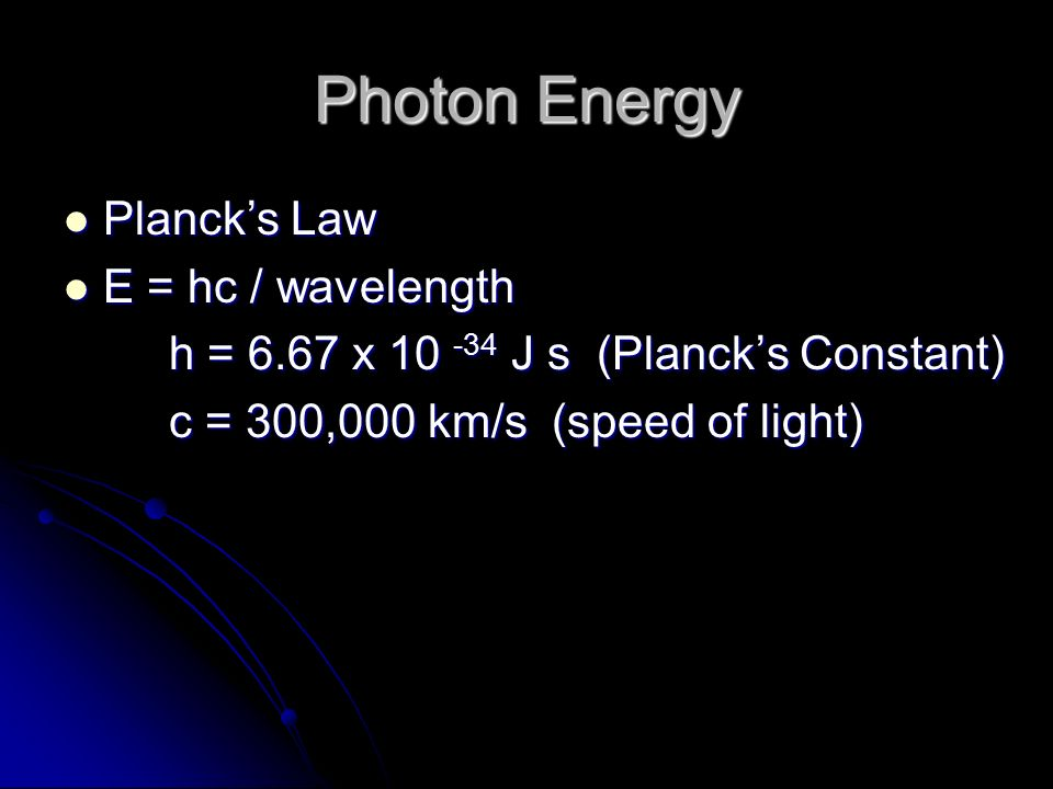 Photon Energy Planck's Law E = hc / wavelength