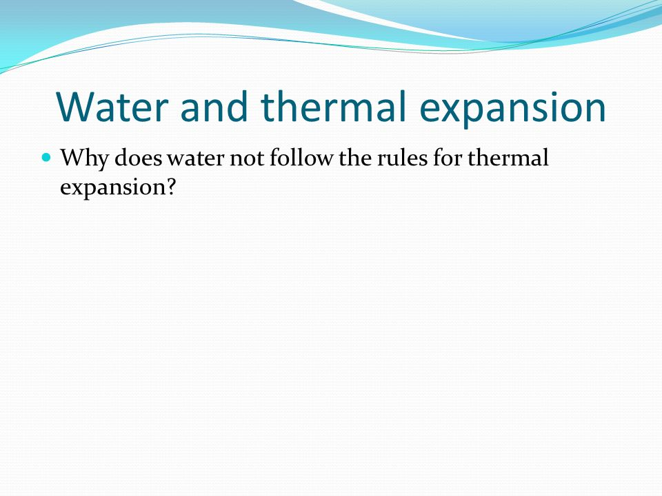 Water and thermal expansion