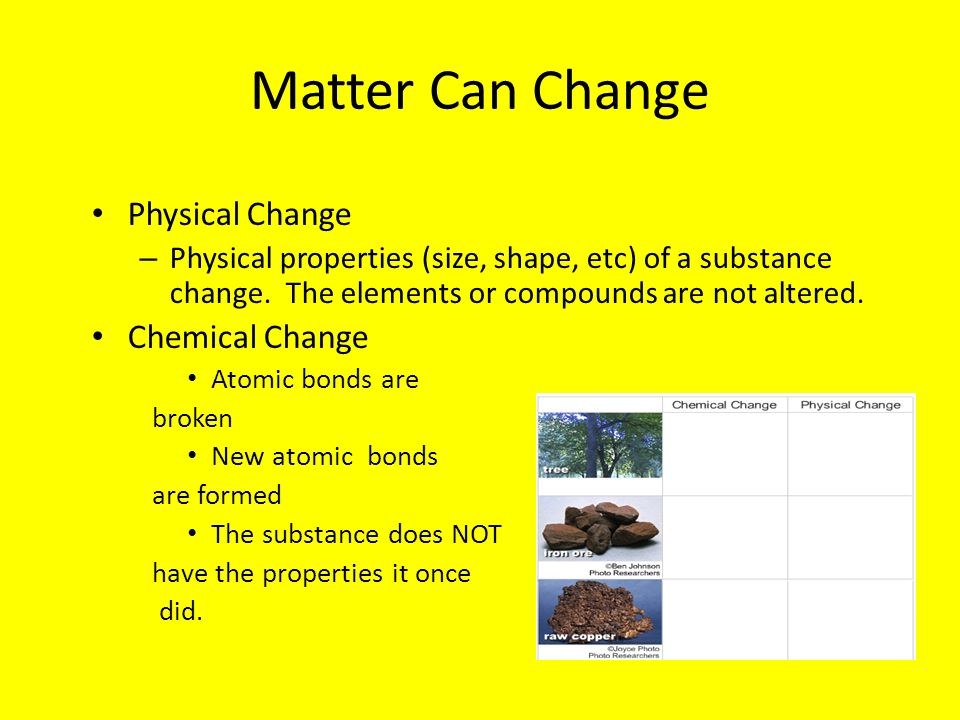 Matter Can Change Physical Change Chemical Change