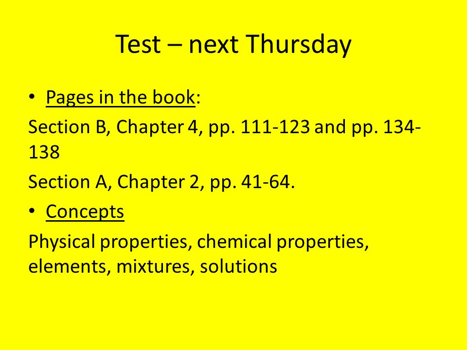 Test – next Thursday Pages in the book: