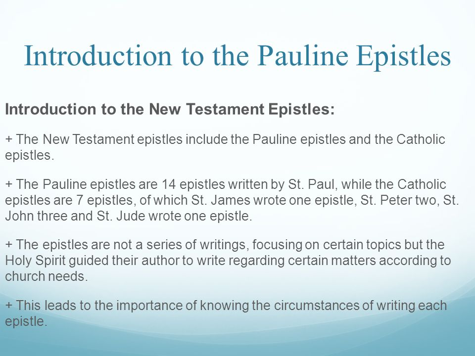 a report on the pauline epistles Resources » encyclopedia of the bible » p » pastoral epistles pastoral epistles pastoral epistles,  they were preserved among the pauline epistles  it was the result of the anxiously awaited report that paul received from titus that he wrote 2 corinthians with some relief titus had evidently handled a very delicate situation well.