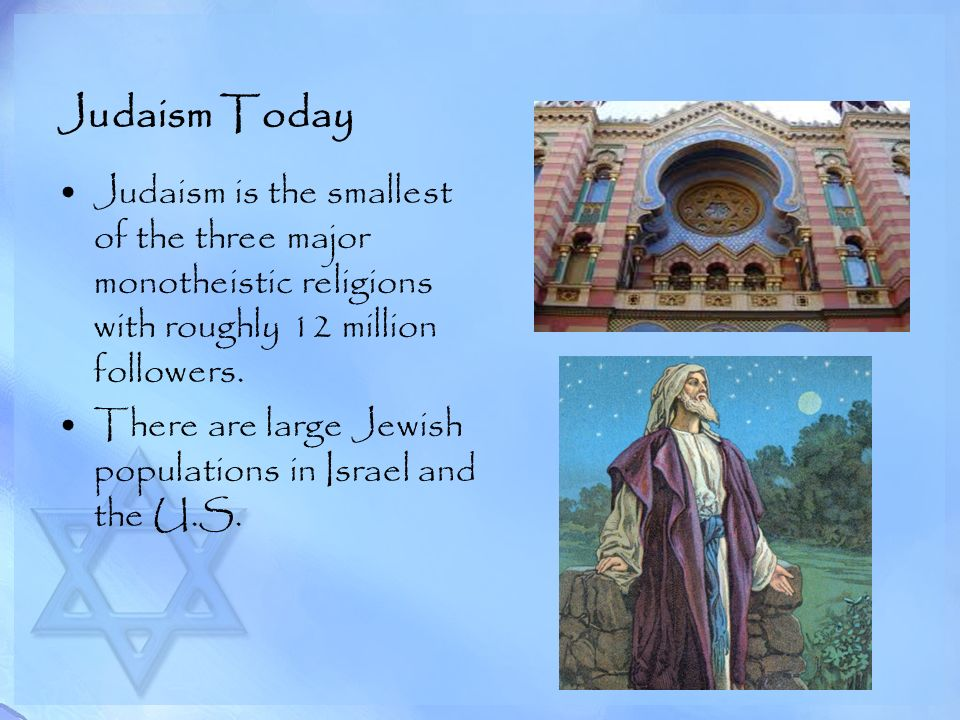 Judaism Today Judaism is the smallest of the three major monotheistic religions with roughly 12 million followers.