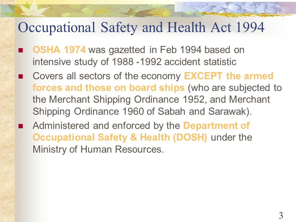 Department of occupational safety and h