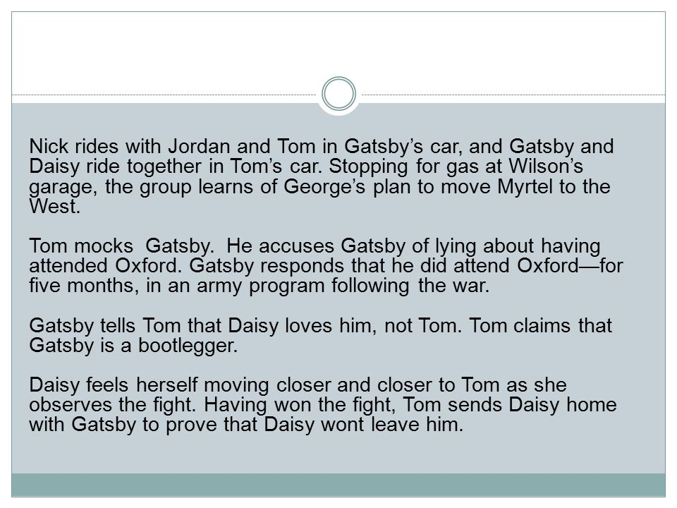 Great Gatsby Chapter Summaries - ppt download