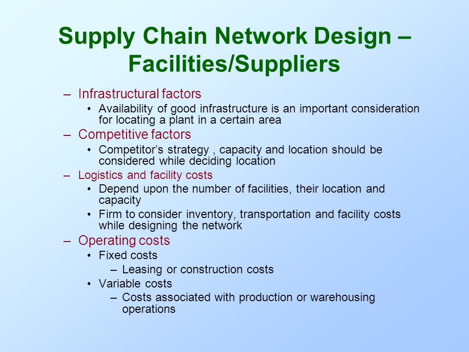 Supply Chain Network - Design - ppt video online download