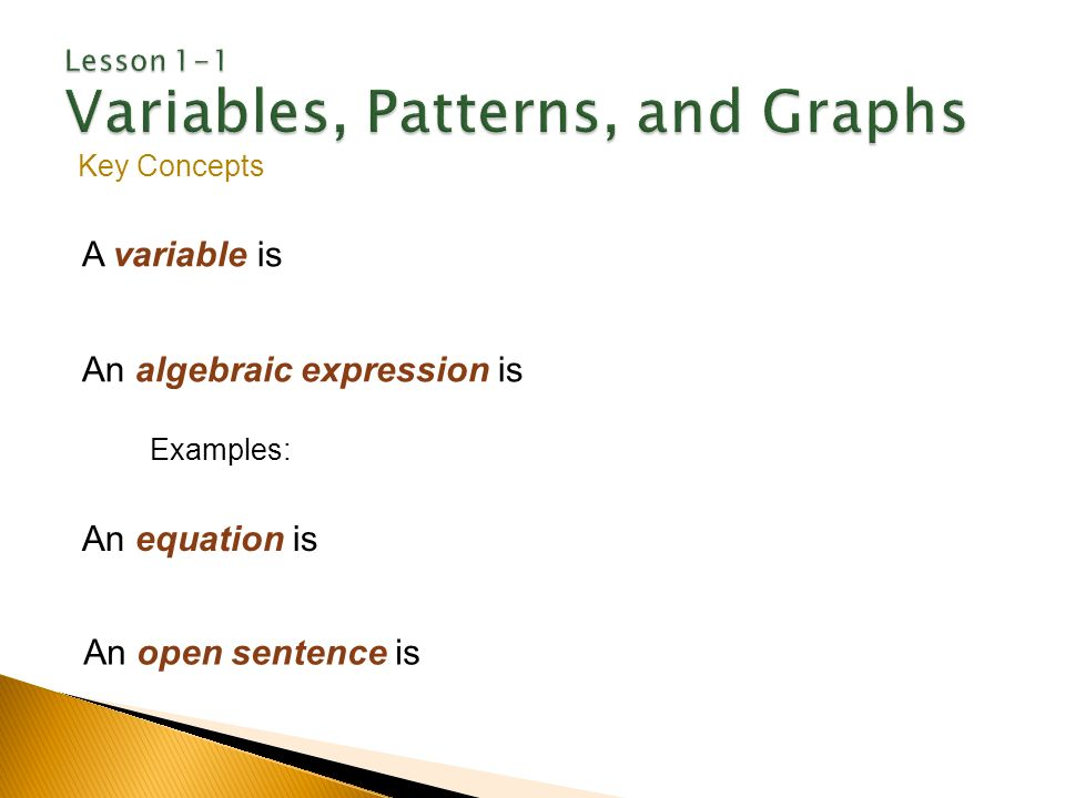 Variables, Function Patterns, and Graphs - ppt video online