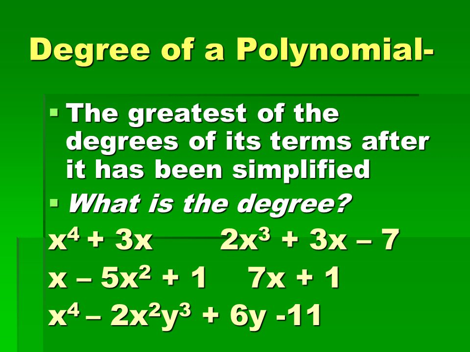 Degree of a Polynomial-
