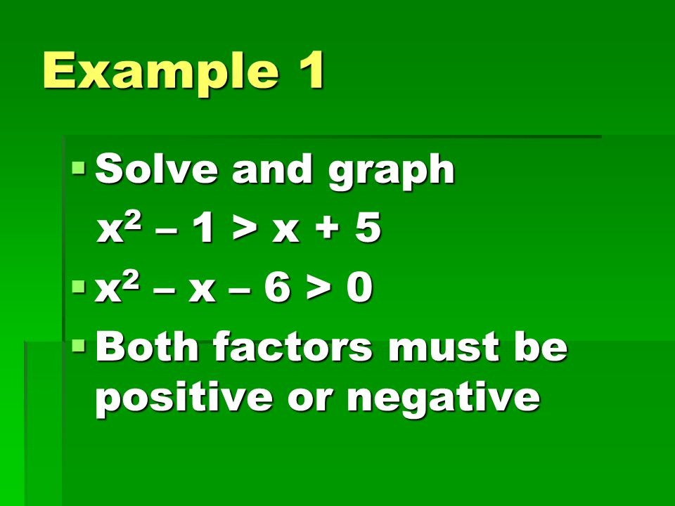 Example 1 Solve and graph x2 – 1 > x + 5 x2 – x – 6 > 0