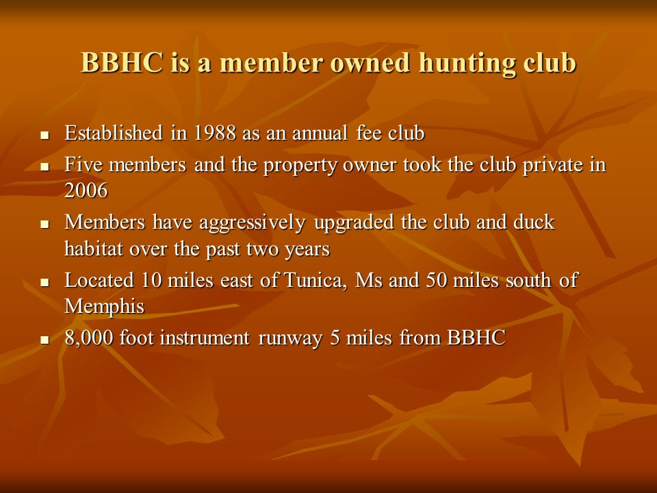Brushy Bayou Hunting Club Little Texas, Mississippi - ppt