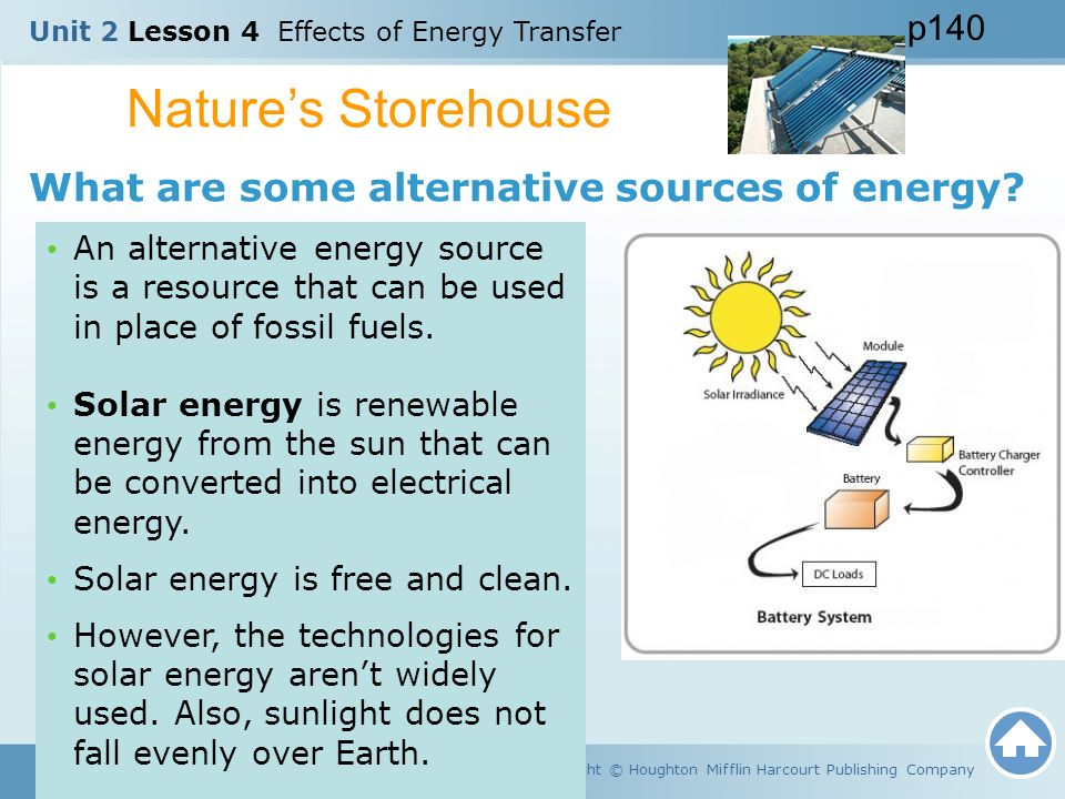 Nature's Storehouse What are some alternative sources of energy p140