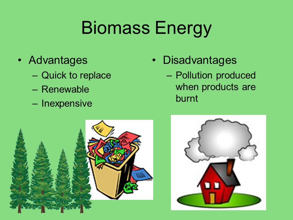 Biomass Energy Advantages Disadvantages Quick to replace Renewable