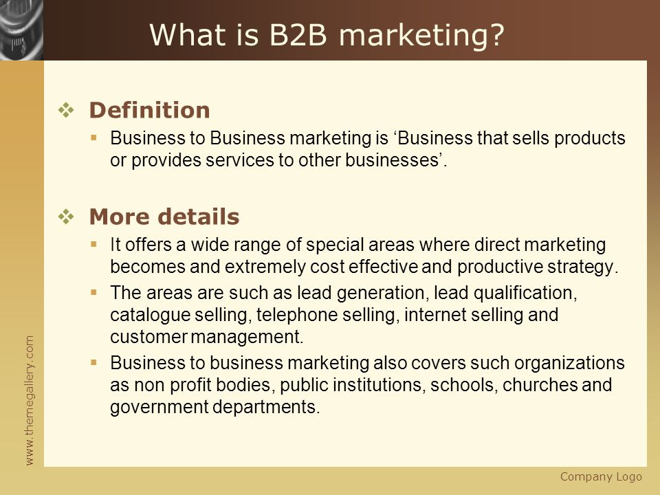 what is b2b marketing definition