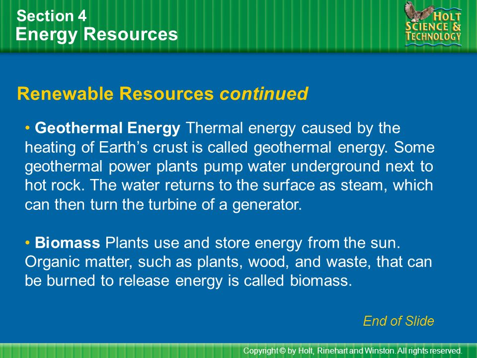 Renewable Resources continued