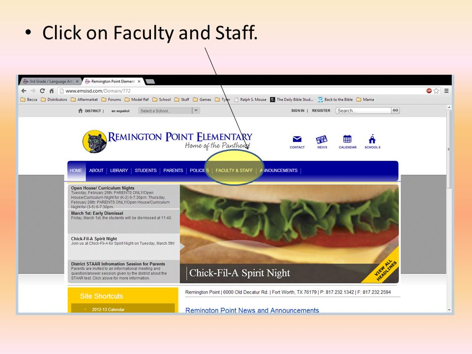 Click on Faculty and Staff.