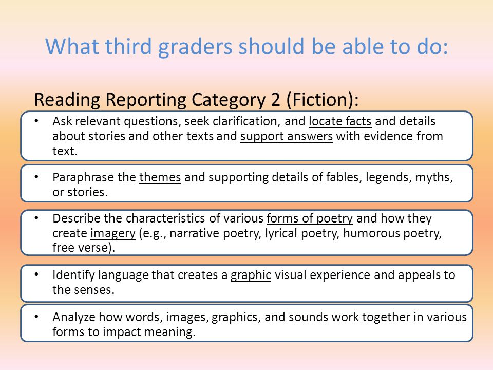 What third graders should be able to do: