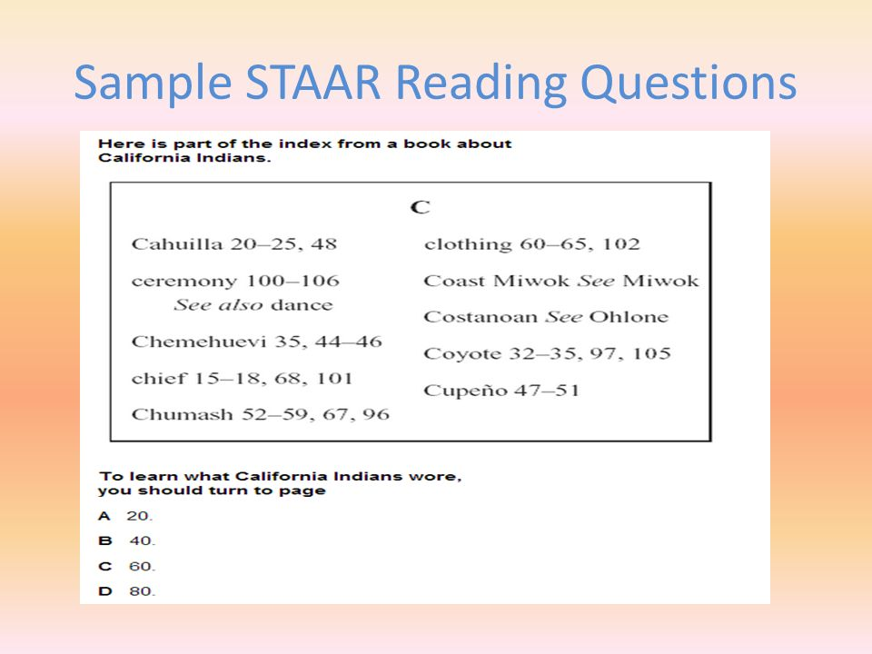 Sample STAAR Reading Questions