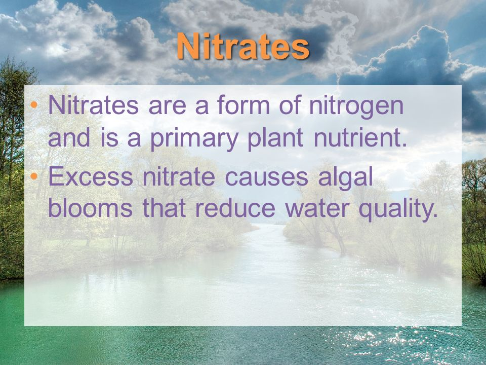 Nitrates Nitrates are a form of nitrogen and is a primary plant nutrient. Excess nitrate causes algal blooms that reduce water quality.