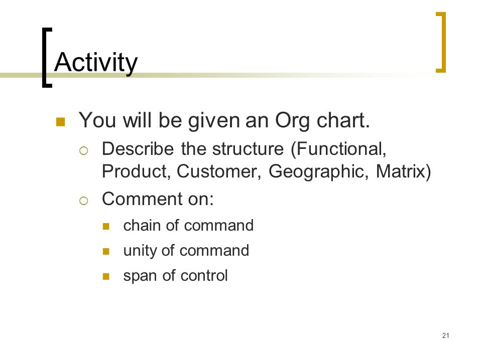 Activity You will be given an Org chart.
