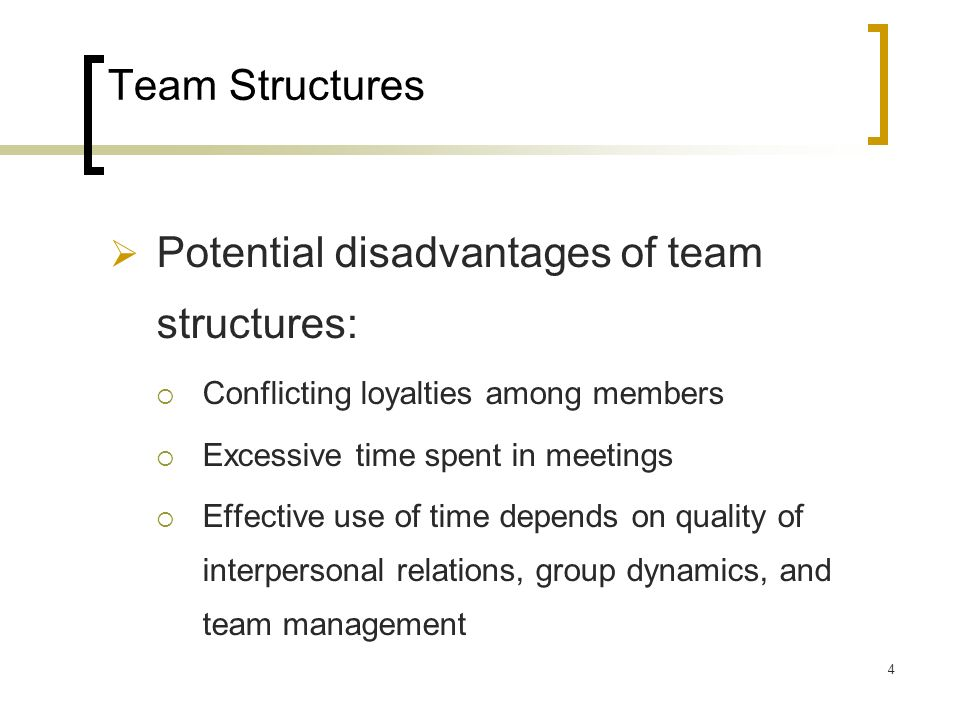 Potential disadvantages of team structures: