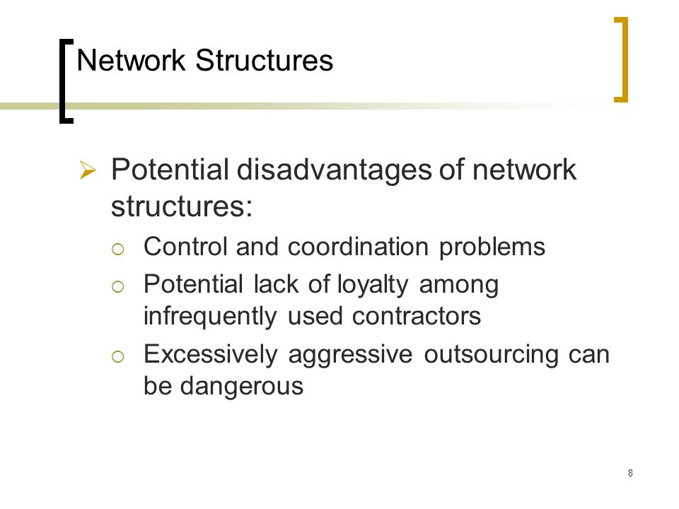 Potential disadvantages of network structures: