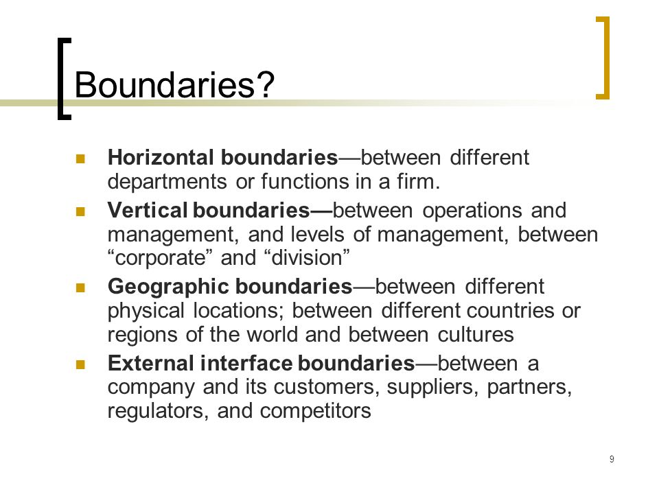 Boundaries Horizontal boundaries—between different departments or functions in a firm.
