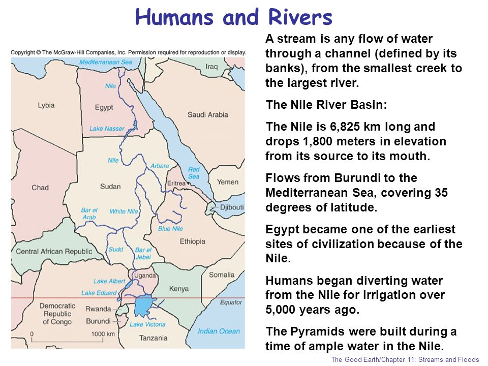 Humans and Rivers A stream is any flow of water through a channel (defined by its banks), from the smallest creek to the largest river.