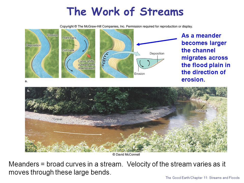 The Work of Streams As a meander becomes larger the channel migrates across the flood plain in the direction of erosion.