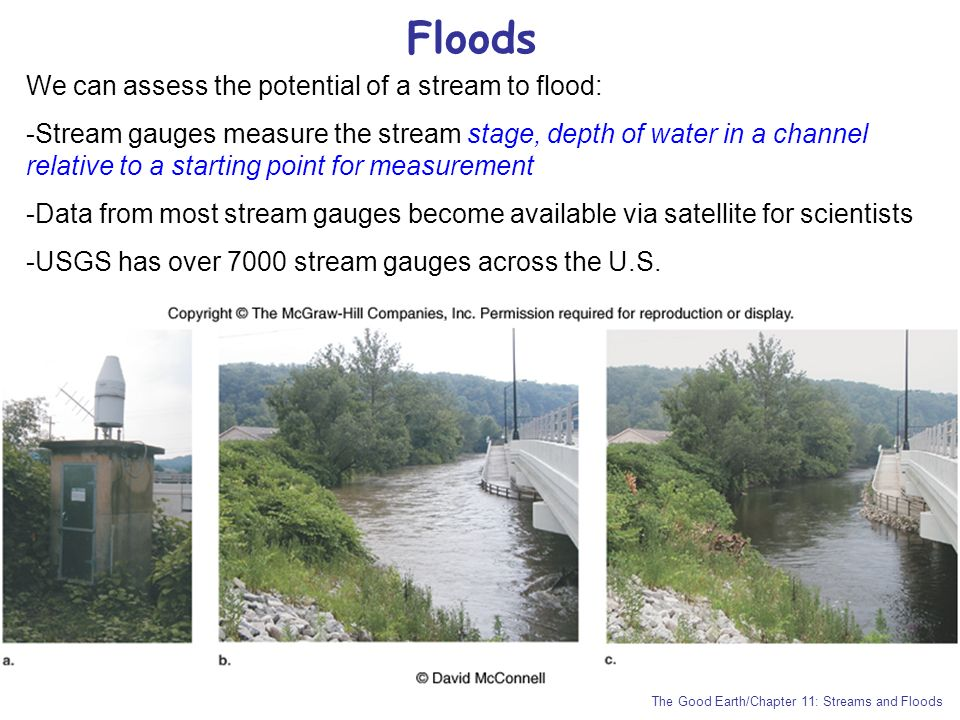 Floods We can assess the potential of a stream to flood: