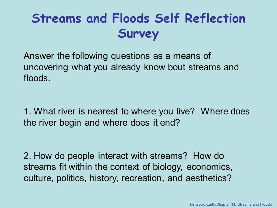 Streams and Floods Self Reflection Survey