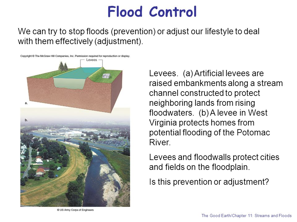 Flood Control We can try to stop floods (prevention) or adjust our lifestyle to deal with them effectively (adjustment).