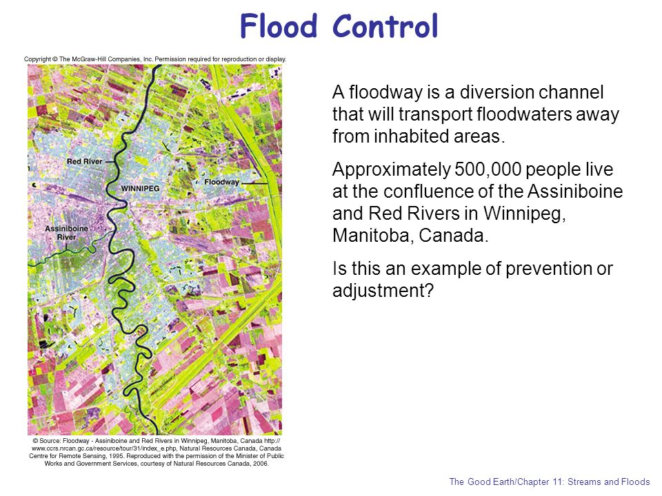 Flood Control A floodway is a diversion channel that will transport floodwaters away from inhabited areas.