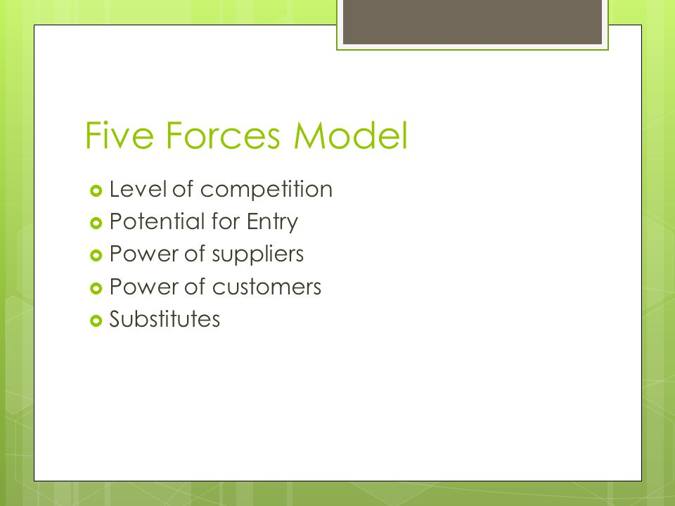 Five Forces Model Level of competition Potential for Entry