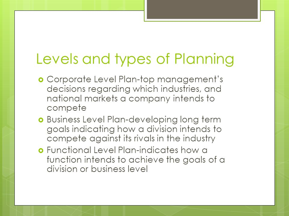 Levels and types of Planning