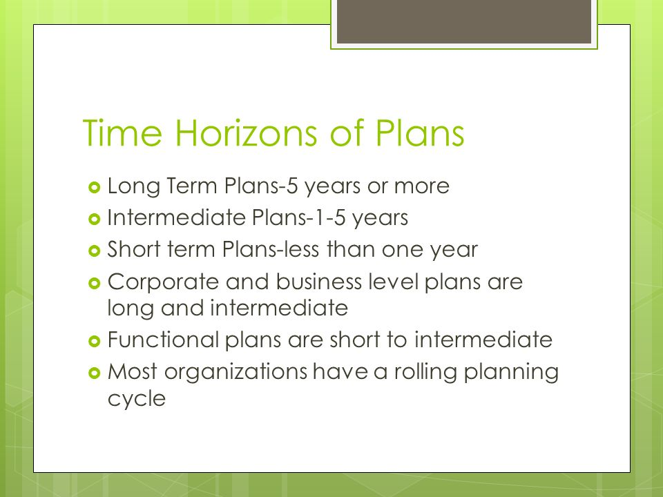 Time Horizons of Plans Long Term Plans-5 years or more