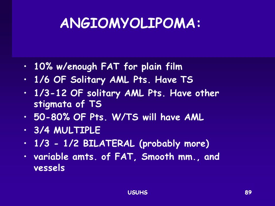 ANGIOMYOLIPOMA: 10% w/enough FAT for plain film