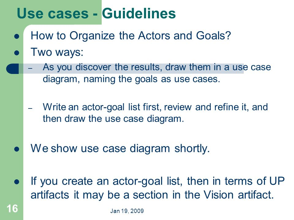 Object oriented analysis and design ppt video online download use cases guidelines how to organize the actors and goals two ways ccuart Choice Image