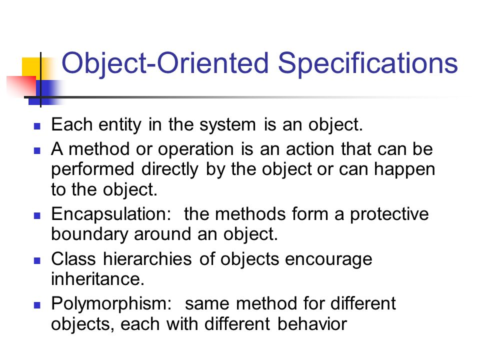 Object-Oriented Specifications
