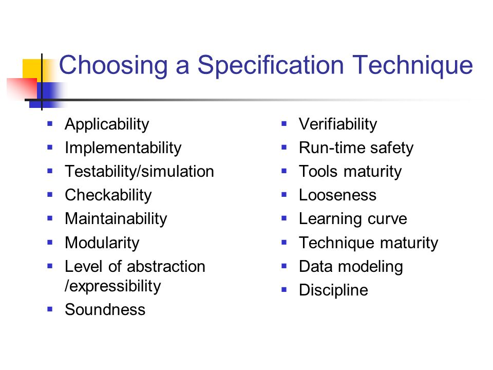 Choosing a Specification Technique