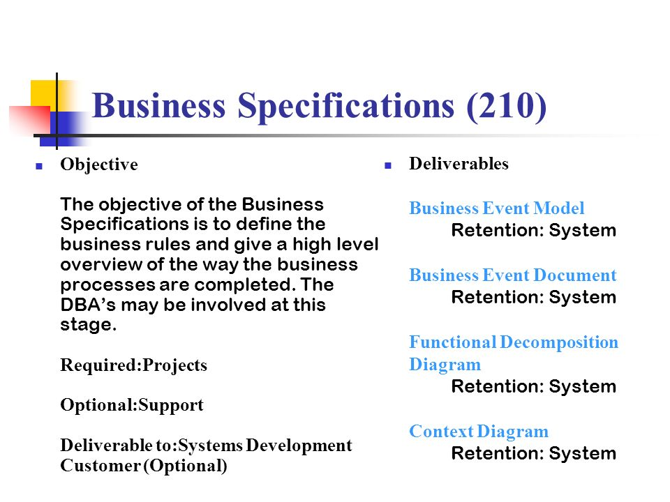 Business Specifications (210)