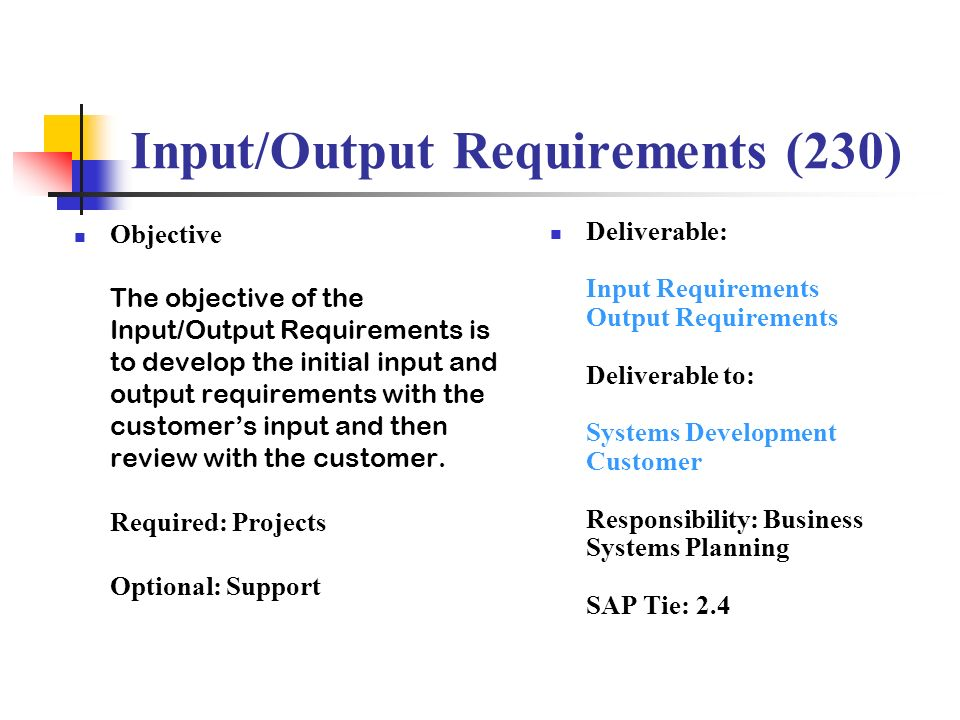 Input/Output Requirements (230)