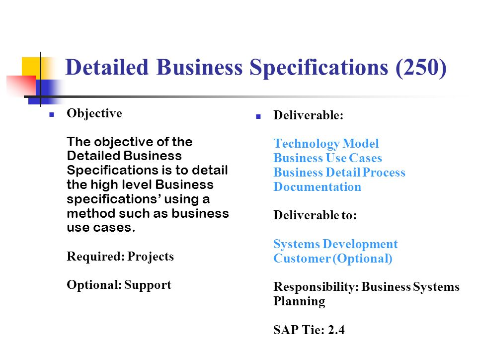 Detailed Business Specifications (250)