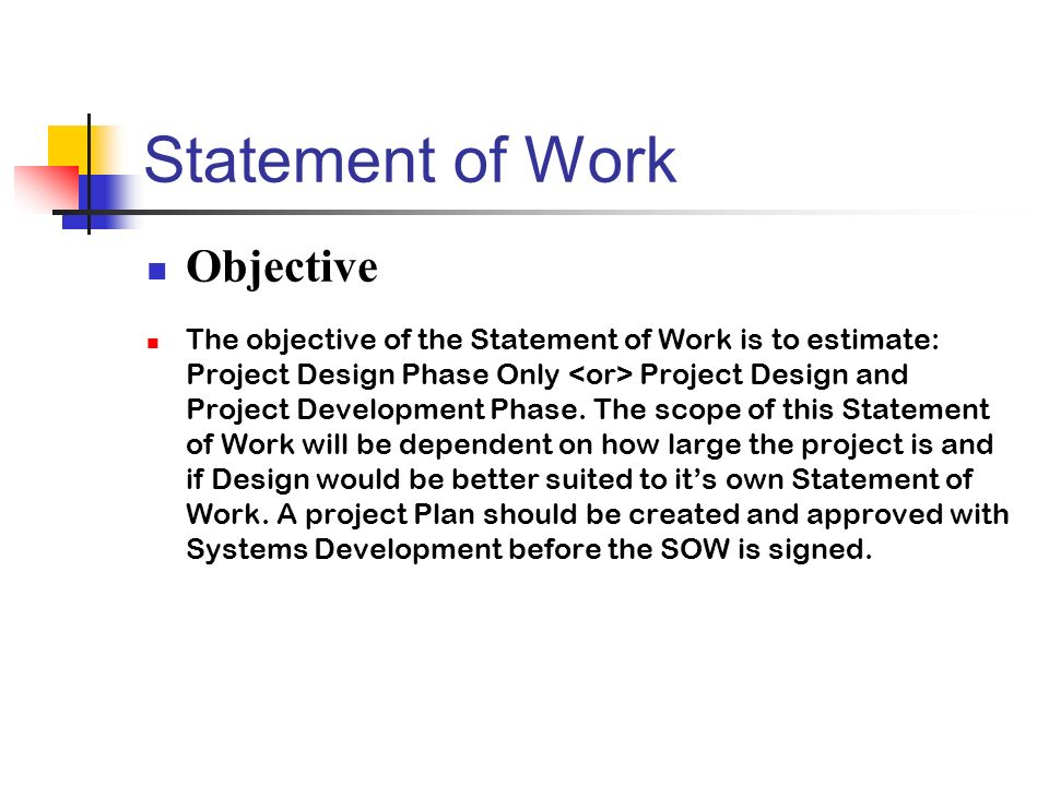 Statement of Work Objective