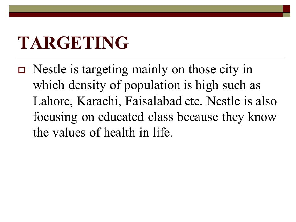 nestle target customers