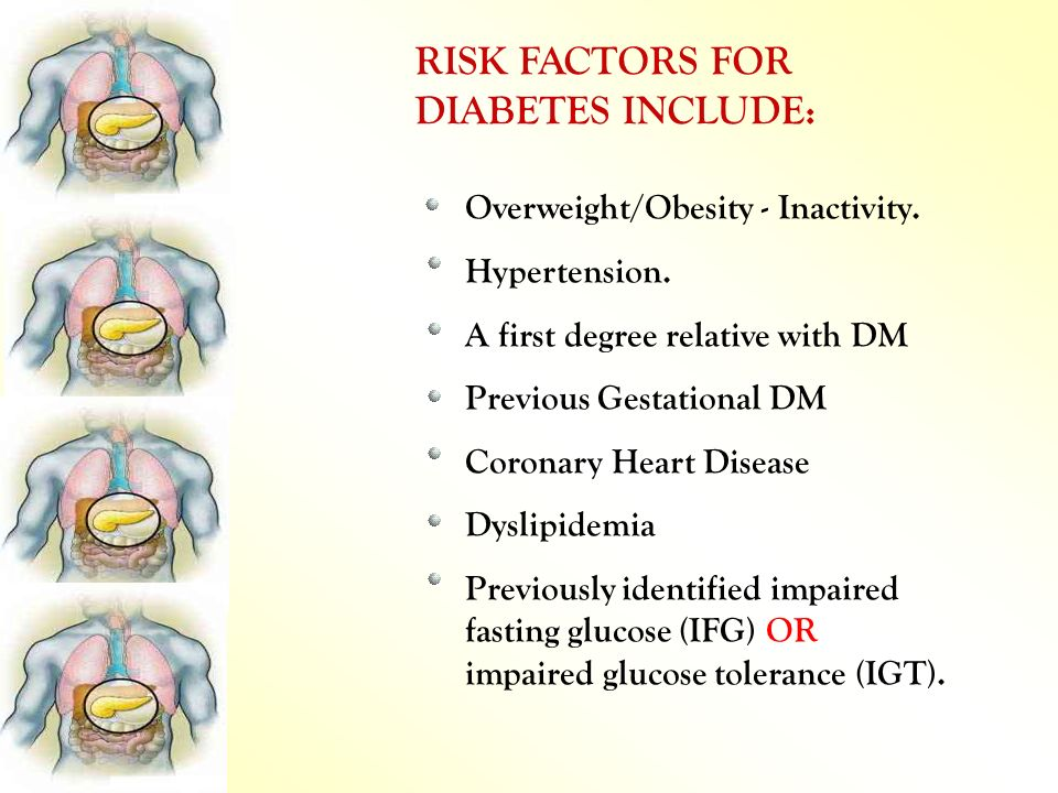 RISK FACTORS FOR DIABETES INCLUDE: