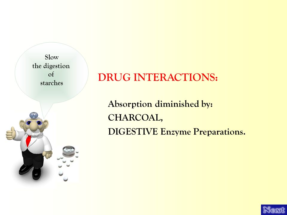 DRUG INTERACTIONS: Absorption diminished by: CHARCOAL,